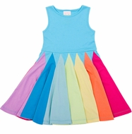 Lemon Loves Lime Girls Sleeveless Rainbow Twirl Dress