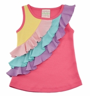 Lemon Loves Lime Girls Three Tiered Ruffle Tank Shirt - Pink Rainbow