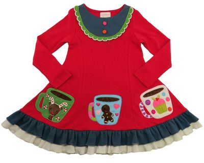 Lemon Loves Lime Girls True Red Hot Cocoa Christmas Dress