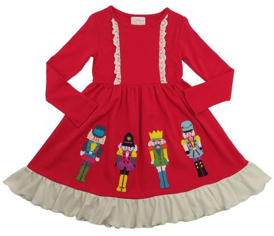 Lemon Loves Lime Girls True Red Nutcracker Christmas Dress