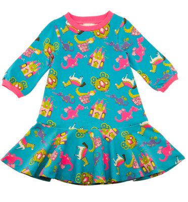 Lemon Loves Lime Girls Turquoise Blue Once Upon a Time Fairy Tale Castle Dress