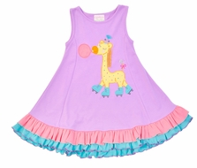 Lemon Loves Lime Girls Violet Giraffe Roller Blade Dress