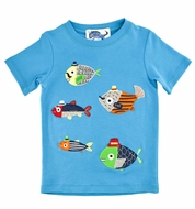 Lemon Loves Lime Gnu Brand Boys Blue T-Shirt - School of Fish