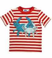 Lemon Loves Lime Gnu Brand Boys Red Striped T-Shirt - Catch of the Day Crabs