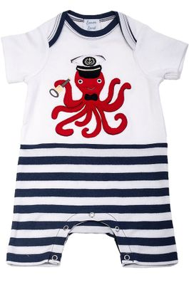 Lemon Loves Lime Layette Baby Boys Blue Stripes Red Captain Octopus Romper