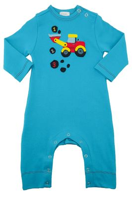 Lemon Loves Lime Layette Baby Boys Blue 123 Truck Romper