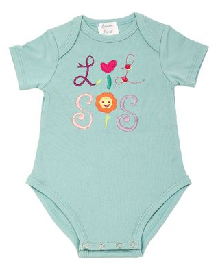 Lemon Loves Lime Layette Baby Girls Aqua Lil Sis Baby Sister Onesie
