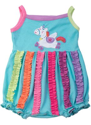 Lemon Loves Lime Layette Baby Girls Aqua Unicorn Power Bubble