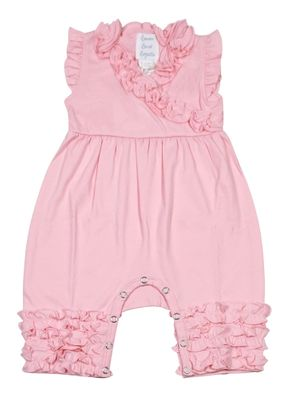 Lemon Loves Lime Layette Baby Girls Ava Ruffle Romper - Rose Shadow Pink