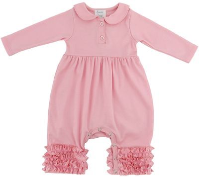 Lemon Loves Lime Layette Baby Girls Cora Romper with Collar - Rose Shadow Pink