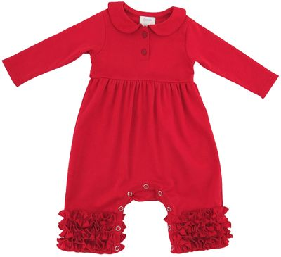 Lemon Loves Lime Layette Baby Girls Cora Romper with Collar - True Red