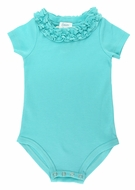 Lemon Loves Lime Layette Baby Girls Daisy Onesie - Blue Tint