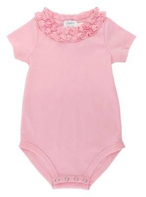 Lemon Loves Lime Layette Baby Girls Daisy Onesie - Rose Shadow Pink
