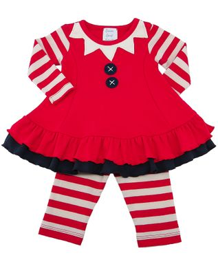Lemon Loves Lime Layette Baby Girls True Red Miss Elf Dress Set