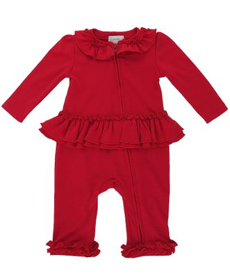 Lemon Loves Lime Layette Baby Girls Molly Ruffle Back Romper - True Red