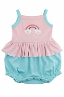 Pre-Order: Lemon Loves Lime Layette Baby Girls Rainbow Tank Bubble - Rose Shadow Pink