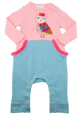 Lemon Loves Lime Layette Baby Girls Pink / Blue Owl Luna Romper
