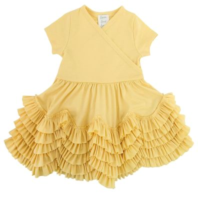 Lemon Loves Lime Layette Baby Girls Sue Ruffles Dress - Butter Yellow