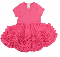 Lemon Loves Lime Layette Baby Girls Sue Ruffles Dress - Pink Lemonade