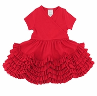 Lemon Loves Lime Layette Baby Girls Sue Ruffles Dress - True Red