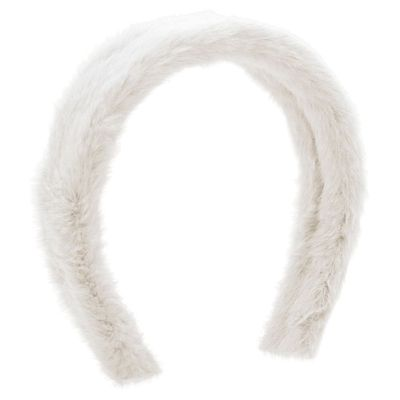 Wee Ones Girls White Faux Fur Solid Headband