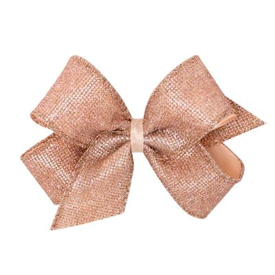 Wee Ones Girls Geometric Glitter Overlay Bow - Rose Gold