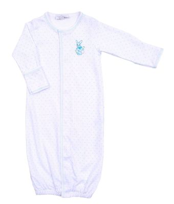 Magnolia Baby Boys Vintage Bunnies White / Blue Dots Embroidered Converter Gown