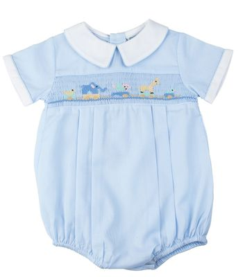 Feltman Brothers Baby Boys Blue Smocked Toy Animals Bubble