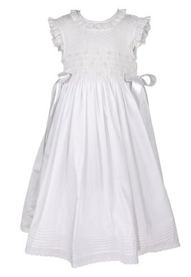 The Best Dressed Child Girls White Smocked Dress with Side Bows