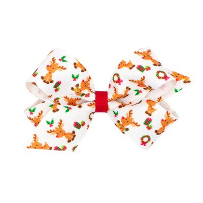 Wee Ones Girls Grosgrain Holiday Print Hair Bow - White with Reindeer
