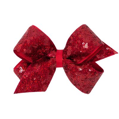 Wee Ones Girls Grosgrain / Sequins Overlay Hair Bow - Red