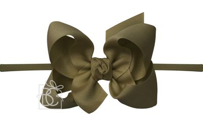 "Girls 1/4"" Pantyhose Headband with Attached Bow - Grosgrain - Moss Green"