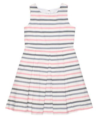 Florence Eiseman Girls Pink / Grey / White Stripe Dress with Back Bows