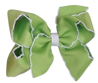 Wee Ones Girls Classic Moonstitch Bow - Apple Green with White