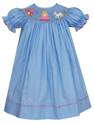 Anavini Baby / Toddler Girls Blue / White Dots Smocked Princess & Unicorn Bishop Dress