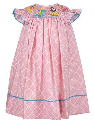 Anavini Baby / Toddler Girls Pink Quatrefoil Smocked Princess Dress