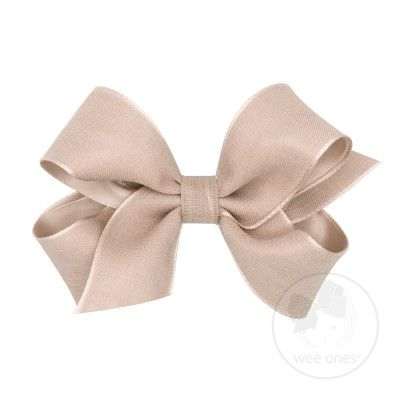 Wee Ones Girls Canvas Linen and Satin Overlay Bow - Tan Sand