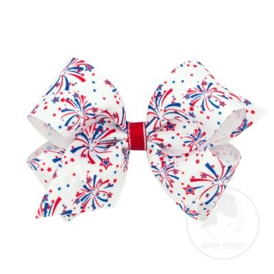 Wee Ones Girls July 4th Patriotic Fireworks Print Bow on Clip