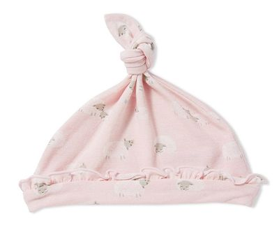 Angel Dear Baby Girls Pink Sheep Knotted Hat