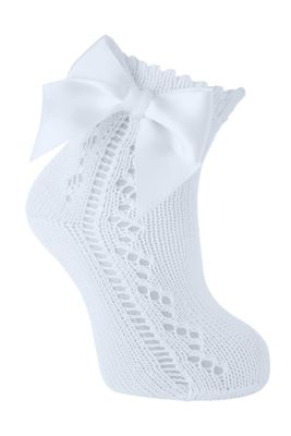 Carlomagno Socks - Girls Scottish Yarn Open Work Ankle Socks - Attached Bow - Sky Blue