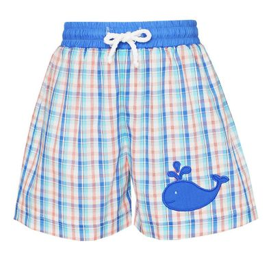 Claire & Charlie Baby / Toddler Boys Blue Plaid Whale Swim Trunks