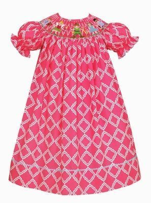 Claire & Charlie Girls Pink Smocked Peter Pan Story Dress