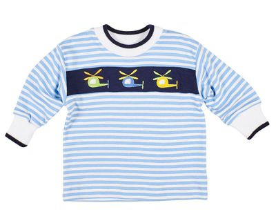 Florence Eiseman Baby / Toddler Boys Blue Striped Knit Shirt with Helicopters