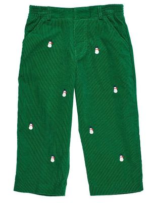Florence Eiseman Baby / Toddler Boys Green Corduroy Pants - Snowman Embroidery