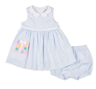 Florence Eiseman Baby Girls Blue Check Birthday Present Dress with Bloomers