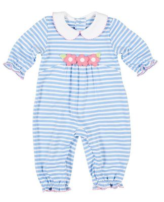 Florence Eiseman Baby Girls Blue Striped Knit Romper - Pink Flowers