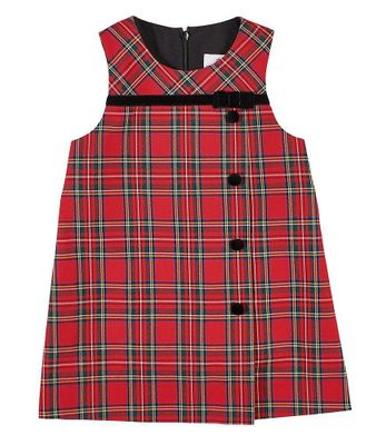 Florence Eiseman Girls Holiday Red Plaid Jumper Dress