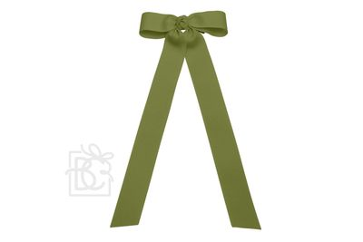 Girls Grosgrain Bow with Streamer Tails - Moss Green