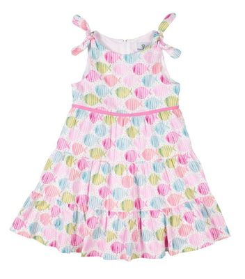 Florence Eiseman Girls Pink / Aqua Fish Print Sun Dress