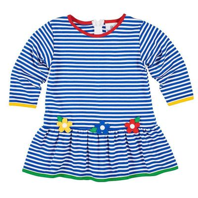 Florence Eiseman Girls Royal Blue Striped Knit Dress with Flowers